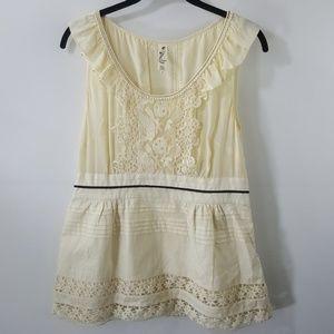 Anthropologie cream silk/cotton lace details top 8